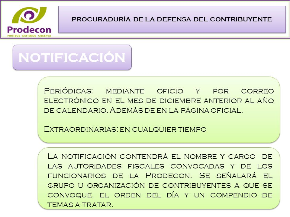 PROCURADURÍA DE LA DEFENSA DEL CONTRIBUYENTE NOTIFICACIÓN Periódicas: mediante oficio y por correo electrónico en el mes de diciembre anterior al año de calendario.