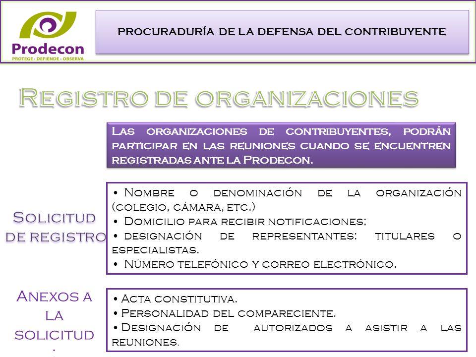 PROCURADURÍA DE LA DEFENSA DEL CONTRIBUYENTE Las organizaciones de contribuyentes, podrán participar en las reuniones cuando se encuentren registradas ante la Prodecon.