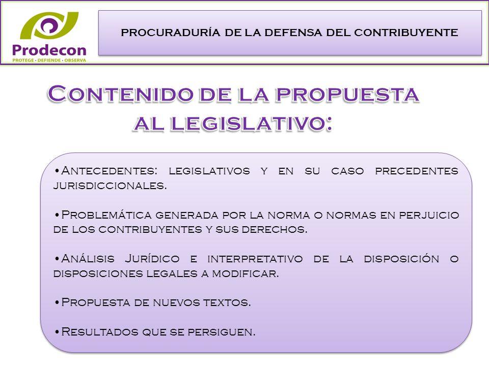 PROCURADURÍA DE LA DEFENSA DEL CONTRIBUYENTE Antecedentes: legislativos y en su caso precedentes jurisdiccionales.