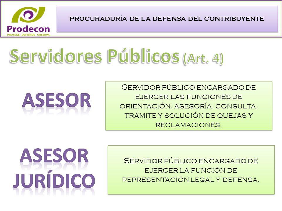 PROCURADURÍA DE LA DEFENSA DEL CONTRIBUYENTE Servidor público encargado de ejercer la función de representación legal y defensa.
