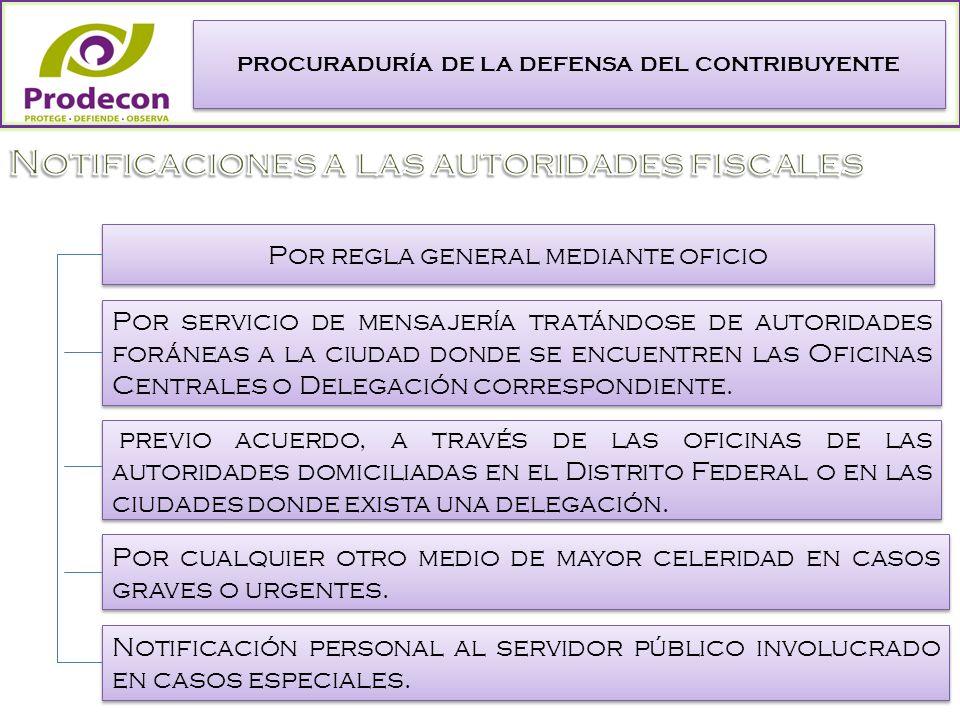 PROCURADURÍA DE LA DEFENSA DEL CONTRIBUYENTE Por regla general mediante oficio Por servicio de mensajería tratándose de autoridades foráneas a la ciudad donde se encuentren las Oficinas Centrales o Delegación correspondiente.