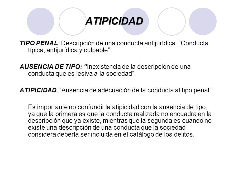 ATIPICIDAD Los casos de la atipicidad son los siguientes: a)Ausencia de la calidad o del número de sujetos activos o pasivos exigidos por la ley; (el delito debe ser cometido por una persona en especial, ejem.