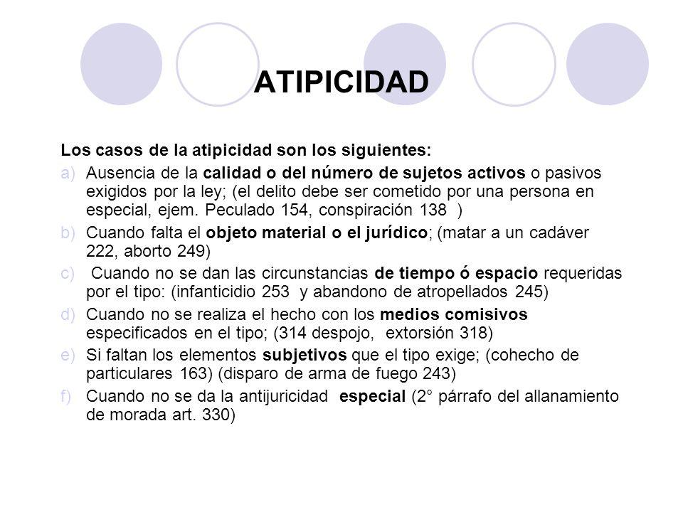 ATIPICIDAD Los casos de la atipicidad son los siguientes: a)Ausencia de la calidad o del número de sujetos activos o pasivos exigidos por la ley; (el