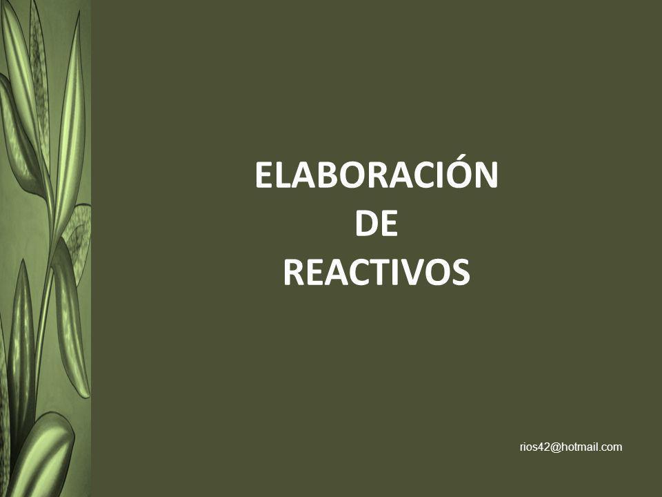 Un reactivo es la enunciación o interrogatorio de un problema para ser contestado por un estudiante, con la intención de conocer el nivel de dominio de un tema o área de conocimiento especifico.