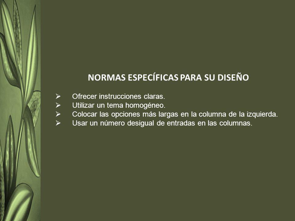 NORMAS ESPECÍFICAS PARA SU DISEÑO Ofrecer instrucciones claras.