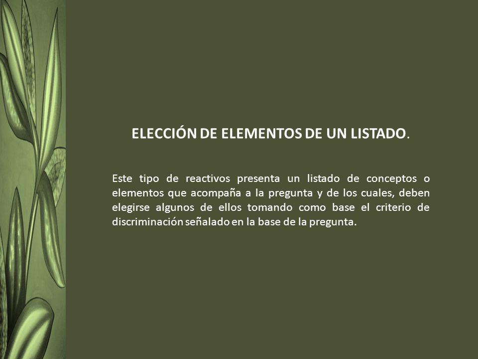 ELECCIÓN DE ELEMENTOS DE UN LISTADO.