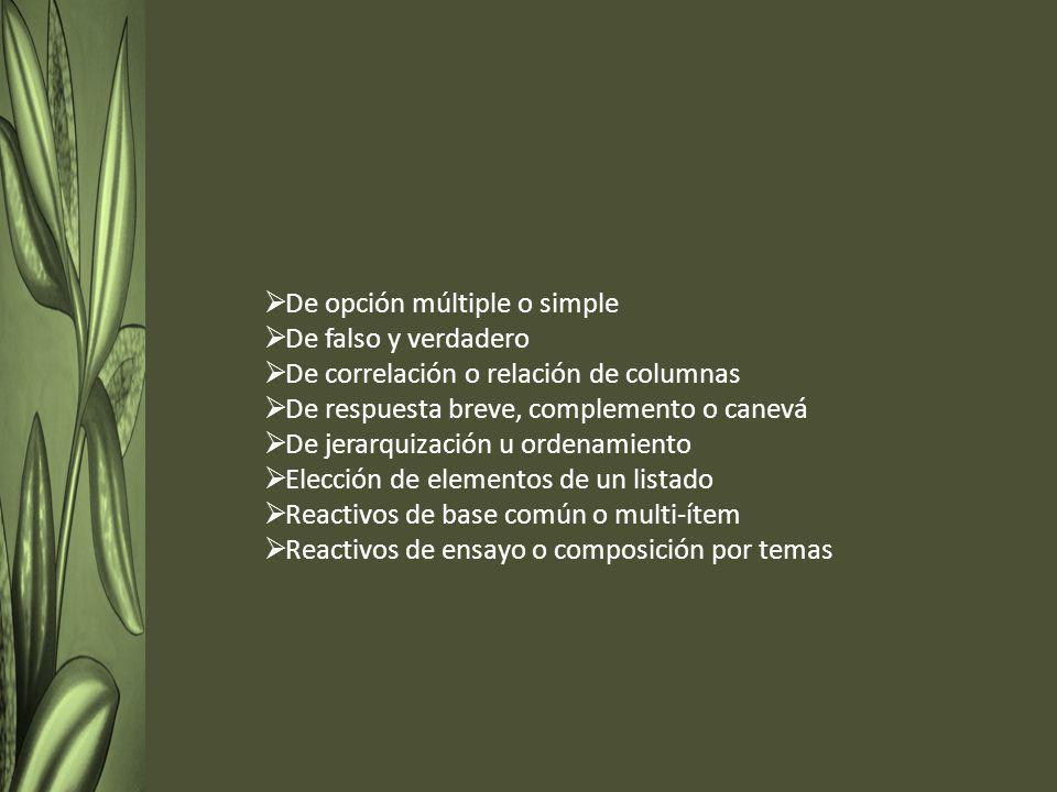 De opción múltiple o simple De falso y verdadero De correlación o relación de columnas De respuesta breve, complemento o canevá De jerarquización u ordenamiento Elección de elementos de un listado Reactivos de base común o multi-ítem Reactivos de ensayo o composición por temas