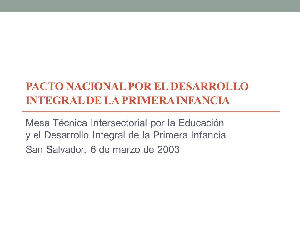 PACTO NACIONAL POR EL DESARROLLO INTEGRAL DE LA PRIMERA INFANCIA Mesa Técnica Intersectorial por la Educación y el Desarrollo Integral de la Primera I