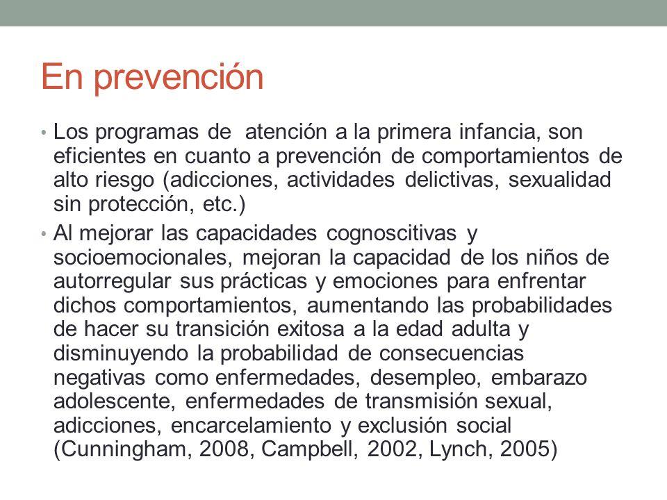 En prevención Los programas de atención a la primera infancia, son eficientes en cuanto a prevención de comportamientos de alto riesgo (adicciones, ac
