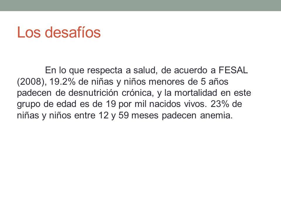 Los desafíos En lo que respecta a salud, de acuerdo a FESAL (2008), 19.2% de niñas y niños menores de 5 años padecen de desnutrición crónica, y la mor
