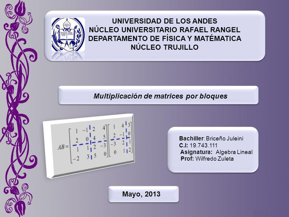 UNIVERSIDAD DE LOS ANDES NÚCLEO UNIVERSITARIO RAFAEL RANGEL DEPARTAMENTO DE FÍSICA Y MATÉMATICA NÚCLEO TRUJILLO Multiplicación de matrices por bloques Bachiller: Briceño Juleini C.I: 19.743.111 Asignatura: Algebra Lineal Prof: Wilfredo Zuleta Mayo, 2013