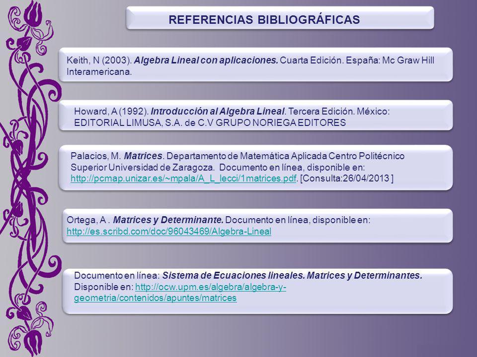 REFERENCIAS BIBLIOGRÁFICAS Keith, N (2003).Algebra Lineal con aplicaciones.