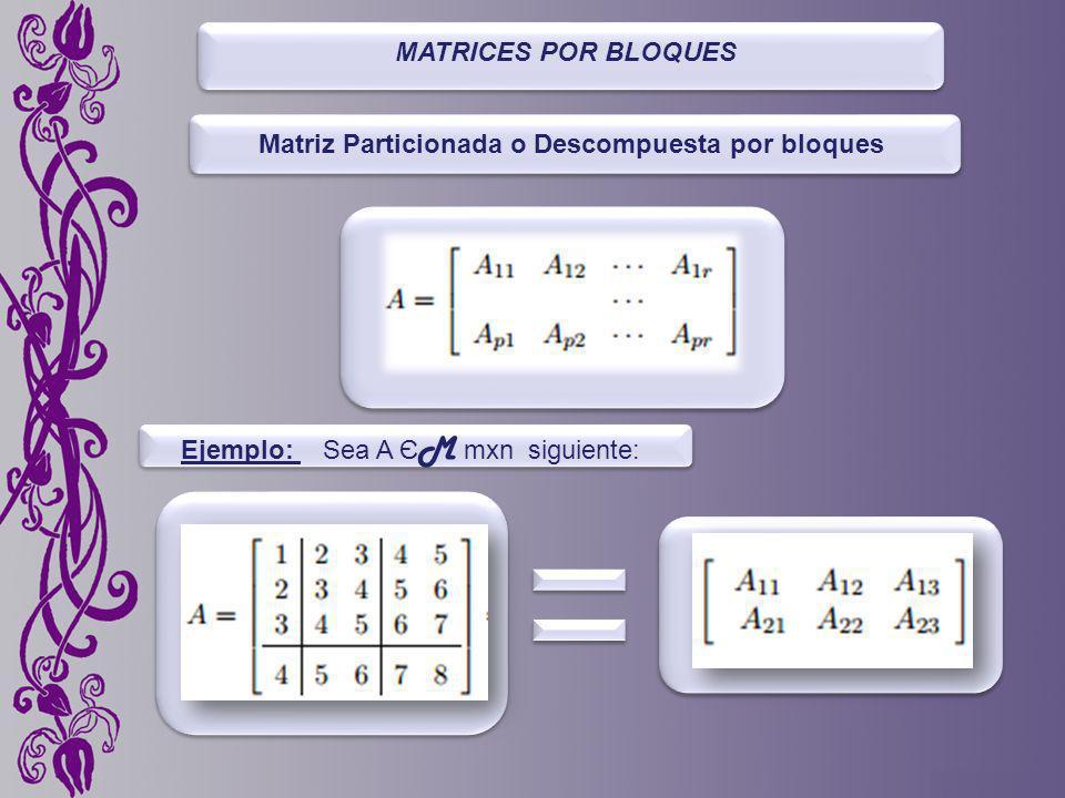MATRICES POR BLOQUES Matriz Particionada o Descompuesta por bloques Ejemplo: Sea A Є M mxn siguiente:
