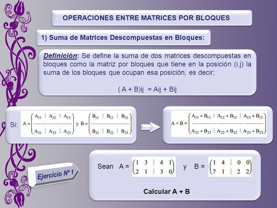 OPERACIONES ENTRE MATRICES POR BLOQUES Definición: Se dene la suma de dos matrices descompuestas en bloques como la matriz por bloques que tiene en la posición (i,j) la suma de los bloques que ocupan esa posición, es decir; ( A + B)ij = Aij + Bij Definición: Se dene la suma de dos matrices descompuestas en bloques como la matriz por bloques que tiene en la posición (i,j) la suma de los bloques que ocupan esa posición, es decir; ( A + B)ij = Aij + Bij 1) Suma de Matrices Descompuestas en Bloques: Si: Sean A = y B = Calcular A + B
