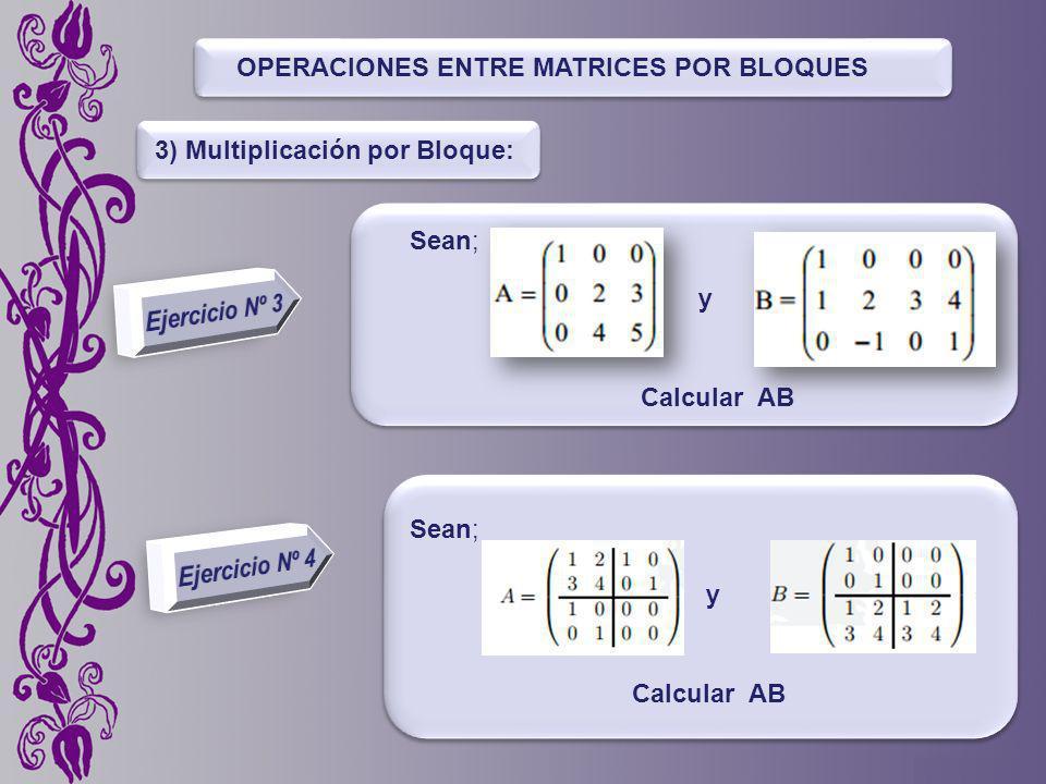 OPERACIONES ENTRE MATRICES POR BLOQUES 3) Multiplicación por Bloque: Sean; Calcular AB y Sean; y Calcular AB