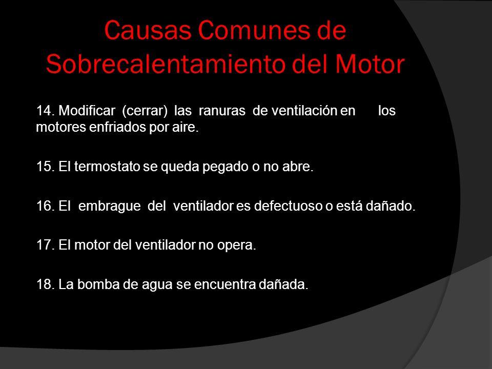 Causas Comunes de Sobrecalentamiento del Motor 14. Modificar (cerrar) las ranuras de ventilación en los motores enfriados por aire. 15. El termostato