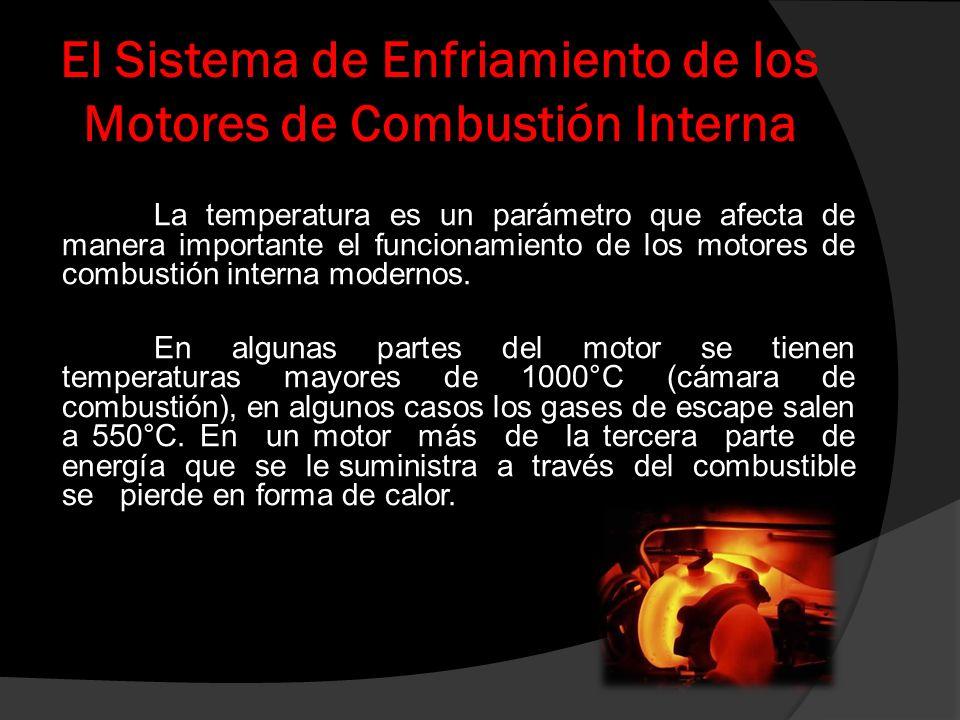 El Sistema de Enfriamiento de los Motores de Combustión Interna «El sistema de enfriamiento es el que se encarga de quelos diferentes componentes del motor se mantengan en temperaturas seguras y asíevitar que el motor sufra desgastes prematuros o daños importantes y lograr con ello su máximo rendimiento»