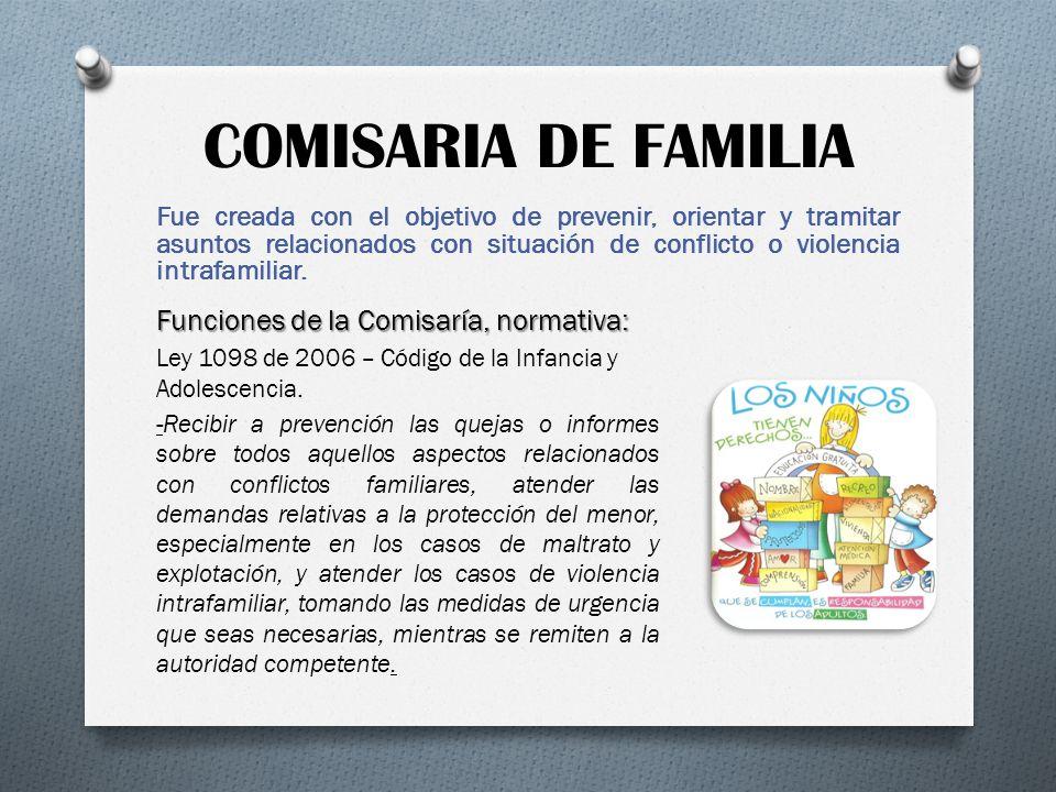 COMISARIA DE FAMILIA Fue creada con el objetivo de prevenir, orientar y tramitar asuntos relacionados con situación de conflicto o violencia intrafami