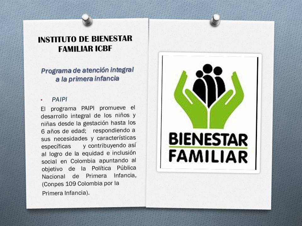 INSTITUTO DE BIENESTAR FAMILIAR ICBF Programa de atención integral a la primera infancia PAIPI El programa PAIPI promueve el desarrollo integral de lo