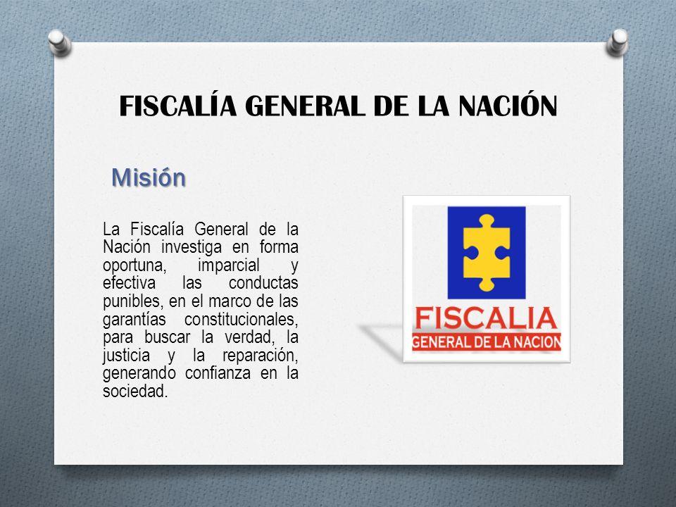 FISCALÍA GENERAL DE LA NACIÓN Misión La Fiscalía General de la Nación investiga en forma oportuna, imparcial y efectiva las conductas punibles, en el