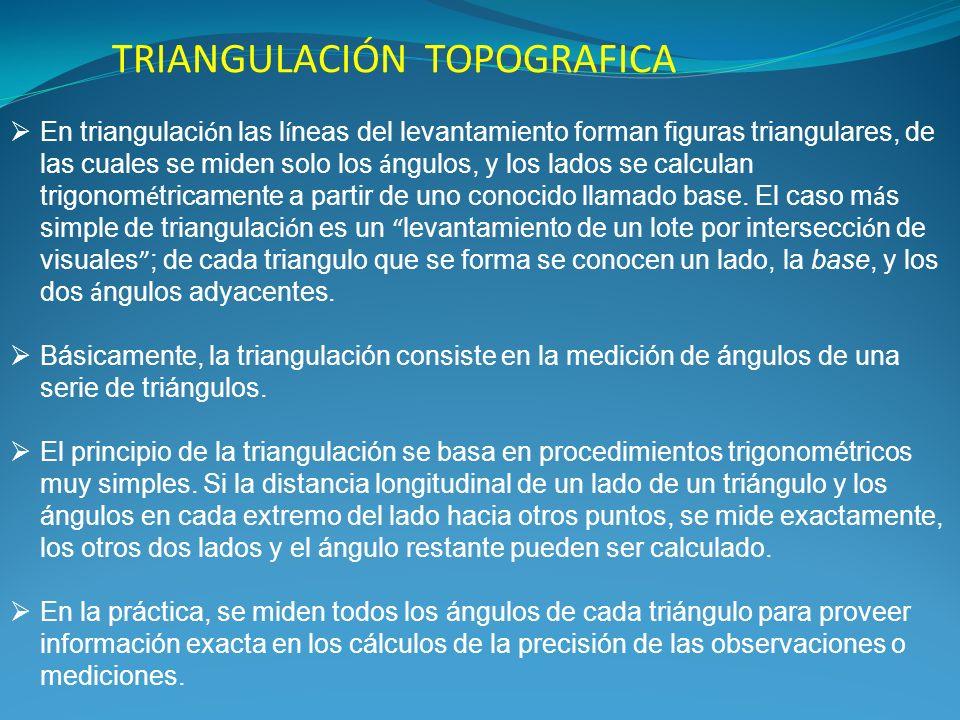 INTRODUCCIÓN Hay varios métodos de levantamiento, algunos de los cuales son de difícil aplicación en la práctica y solamente se emplean como auxiliares, apoyados en los 4 métodos que son la intersección de visuales, radiaciones, determinación de los ángulos que forman los lados y triangulación.
