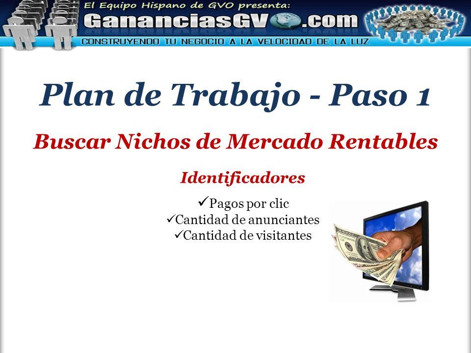 Plan de Trabajo - Paso 1 Buscar Nichos de Mercado Rentables Identificadores Pagos por clic Cantidad de anunciantes Cantidad de visitantes