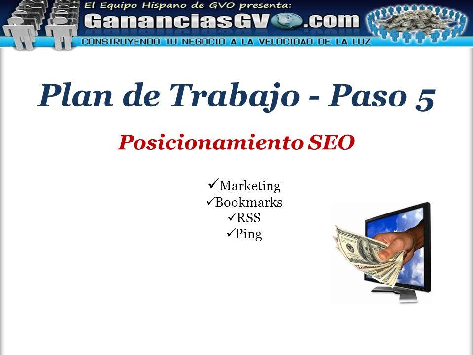Plan de Trabajo - Paso 5 Posicionamiento SEO Marketing Bookmarks RSS Ping