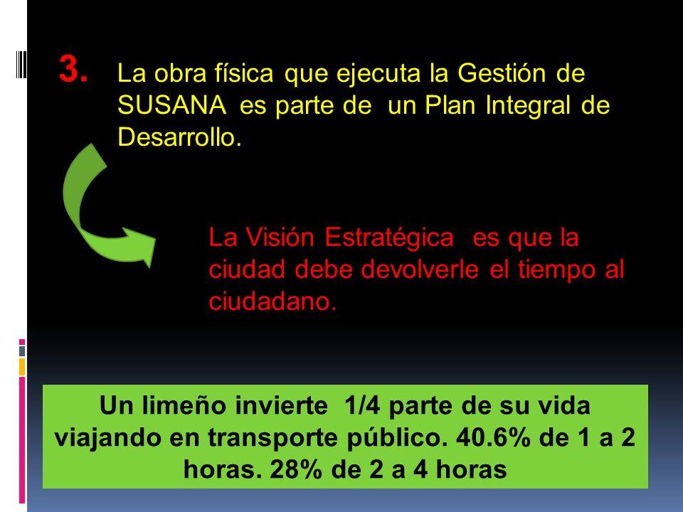 3.La obra física que ejecuta la Gestión de SUSANA es parte de un Plan Integral de Desarrollo.