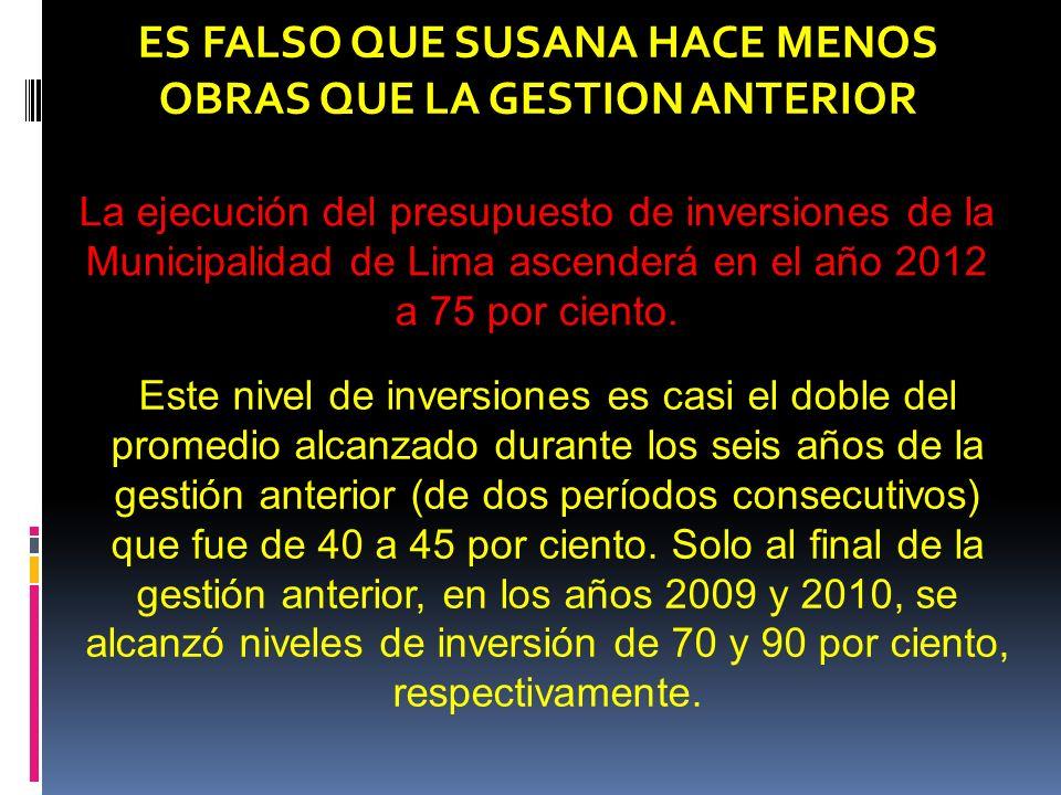 La ejecución del presupuesto de inversiones de la Municipalidad de Lima ascenderá en el año 2012 a 75 por ciento.