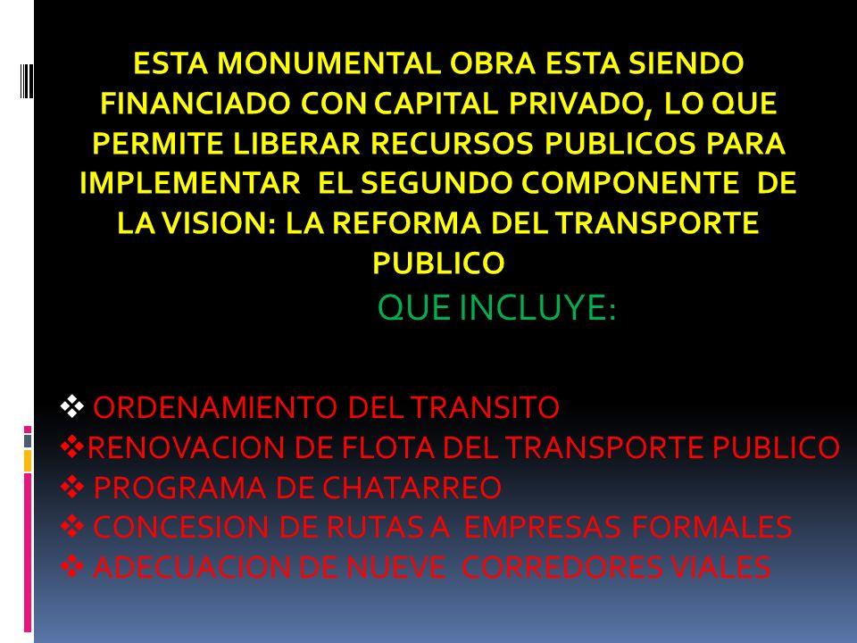 ESTA MONUMENTAL OBRA ESTA SIENDO FINANCIADO CON CAPITAL PRIVADO, LO QUE PERMITE LIBERAR RECURSOS PUBLICOS PARA IMPLEMENTAR EL SEGUNDO COMPONENTE DE LA VISION: LA REFORMA DEL TRANSPORTE PUBLICO QUE INCLUYE: ORDENAMIENTO DEL TRANSITO RENOVACION DE FLOTA DEL TRANSPORTE PUBLICO PROGRAMA DE CHATARREO CONCESION DE RUTAS A EMPRESAS FORMALES ADECUACION DE NUEVE CORREDORES VIALES