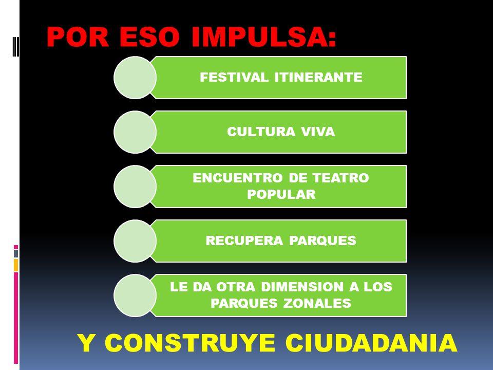 FESTIVAL ITINERANTE CULTURA VIVA ENCUENTRO DE TEATRO POPULAR RECUPERA PARQUES LE DA OTRA DIMENSION A LOS PARQUES ZONALES POR ESO IMPULSA: Y CONSTRUYE CIUDADANIA