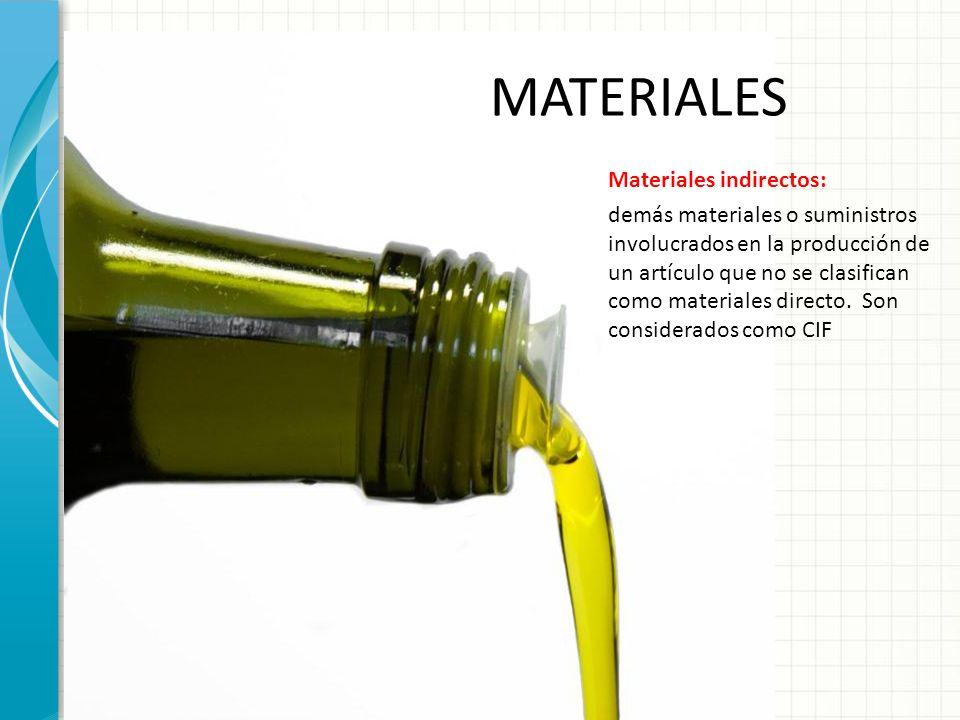 MATERIALES Materiales indirectos: demás materiales o suministros involucrados en la producción de un artículo que no se clasifican como materiales dir