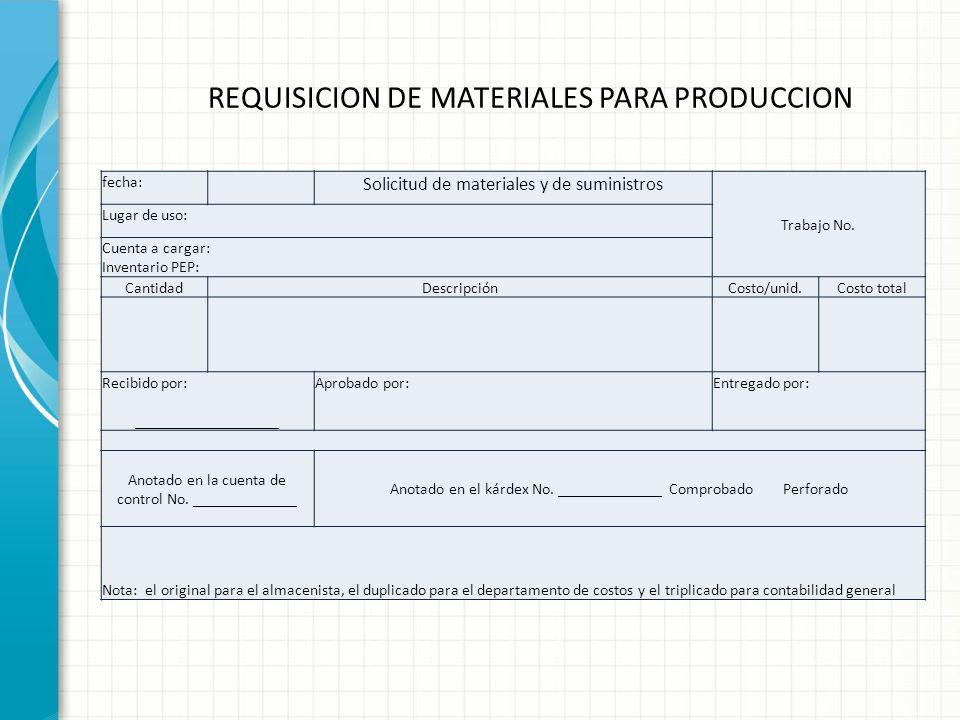 REQUISICION DE MATERIALES PARA PRODUCCION También llamada solicitud de materiales. Generalmente se hace pro triplicado fecha: Solicitud de materiales