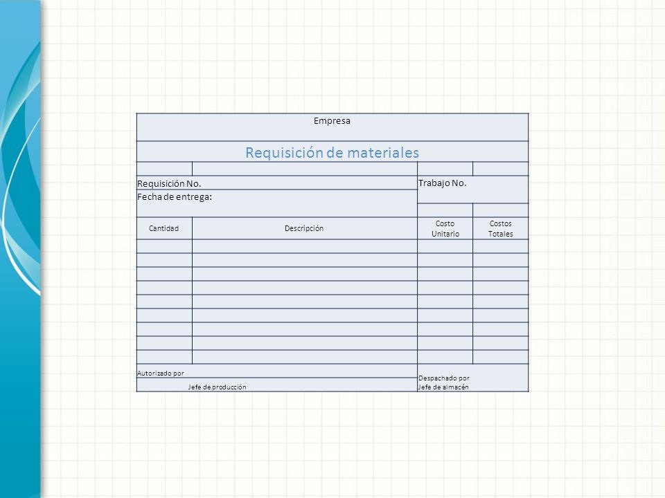 Empresa Requisición de materiales Requisición No. Trabajo No. Fecha de entrega: CantidadDescripción Costo Unitario Costos Totales Autorizado por Despa