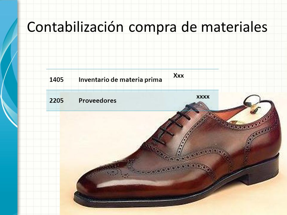Contabilización compra de materiales 1405Inventario de materia prima Xxx 2205Proveedores xxxx