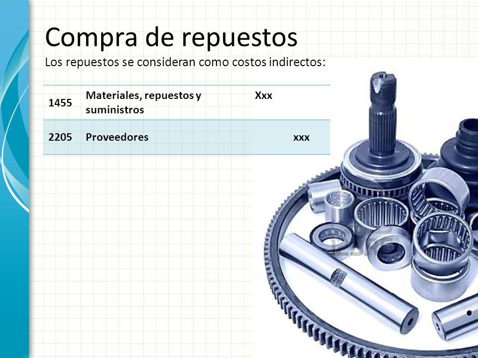 Compra de repuestos Los repuestos se consideran como costos indirectos: 1455 Materiales, repuestos y suministros Xxx 2205Proveedoresxxx