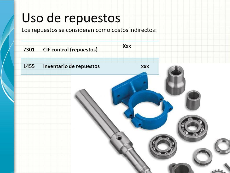 Uso de repuestos Los repuestos se consideran como costos indirectos: 7301CIF control (repuestos) Xxx 1455Inventario de repuestosxxx