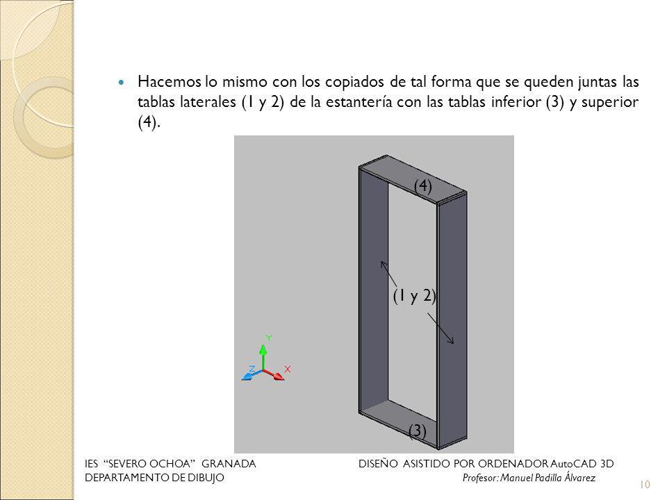 Hacemos lo mismo con los copiados de tal forma que se queden juntas las tablas laterales (1 y 2) de la estantería con las tablas inferior (3) y superi