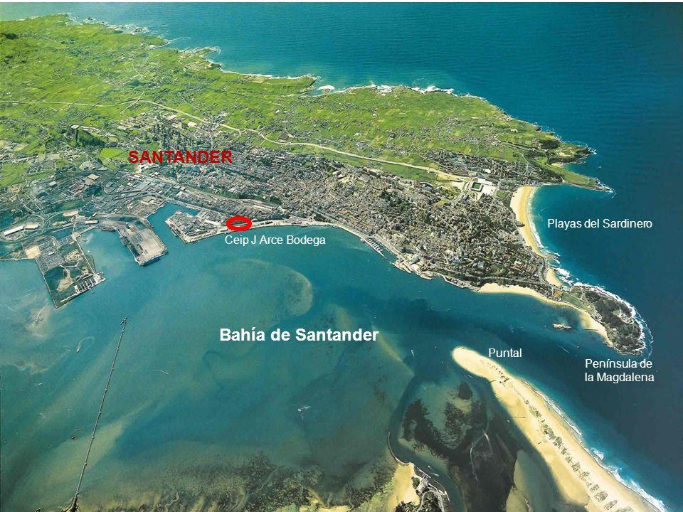Bahía de Santander Playas del Sardinero Península de la Magdalena SANTANDER Ceip J Arce Bodega Puntal