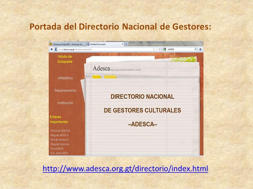 Aprovechar el directorio de gestores culturales para vincular con otros gestores de los demás departamentos de la república, así como de países amigos