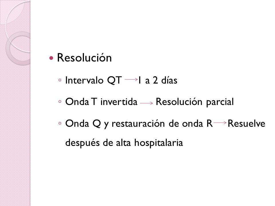Resolución Intervalo QT 1 a 2 días Onda T invertida Resolución parcial Onda Q y restauración de onda R Resuelve después de alta hospitalaria