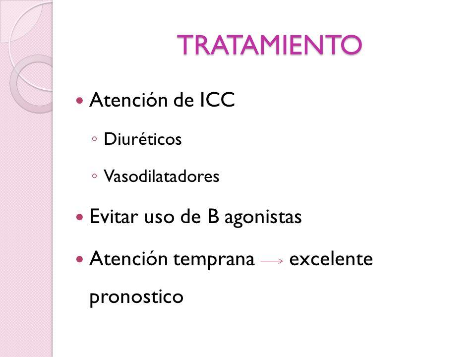 TRATAMIENTO Atención de ICC Diuréticos Vasodilatadores Evitar uso de B agonistas Atención temprana excelente pronostico