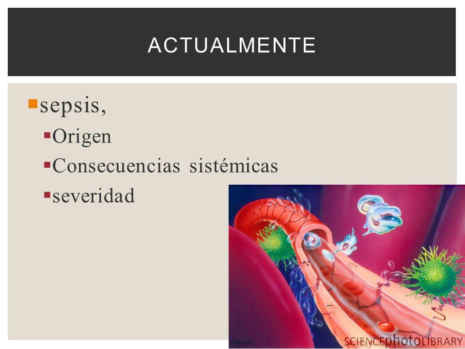 sepsis, Origen Consecuencias sistémicas severidad ACTUALMENTE