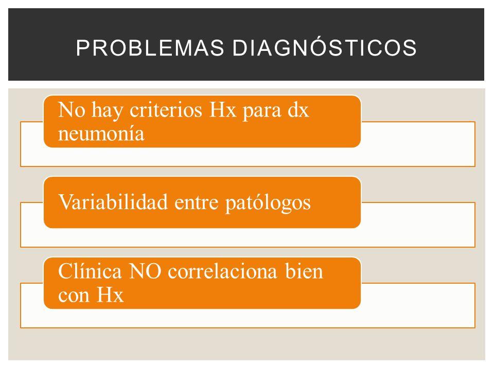 PROBLEMAS DIAGNÓSTICOS No hay criterios Hx para dx neumonía Variabilidad entre patólogos Clínica NO correlaciona bien con Hx
