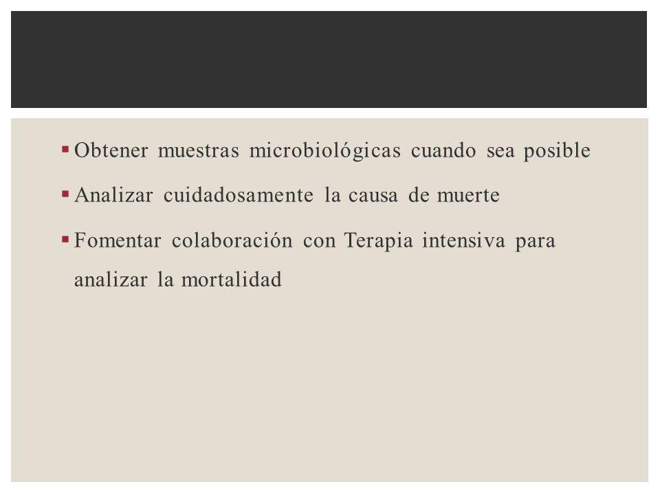 Obtener muestras microbiológicas cuando sea posible Analizar cuidadosamente la causa de muerte Fomentar colaboración con Terapia intensiva para analiz