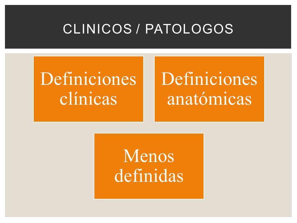 CLINICOS / PATOLOGOS Definiciones clínicas Definiciones anatómicas Menos definidas