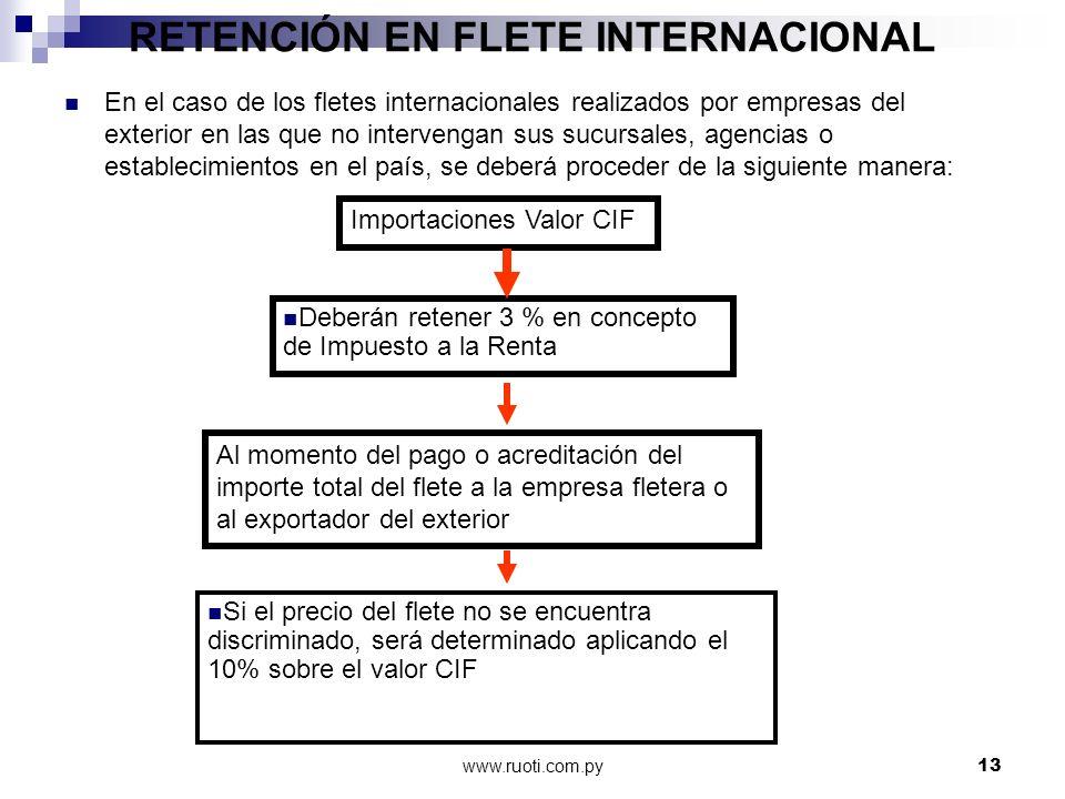 www.ruoti.com.py13 RETENCIÓN EN FLETE INTERNACIONAL En el caso de los fletes internacionales realizados por empresas del exterior en las que no interv