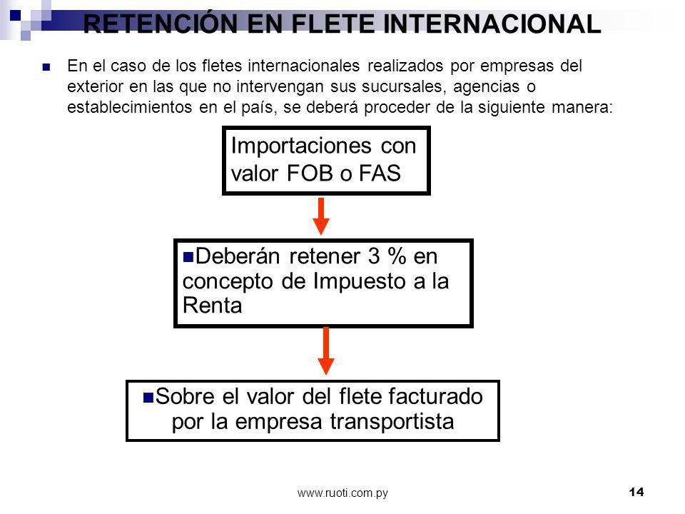 www.ruoti.com.py14 RETENCIÓN EN FLETE INTERNACIONAL En el caso de los fletes internacionales realizados por empresas del exterior en las que no interv