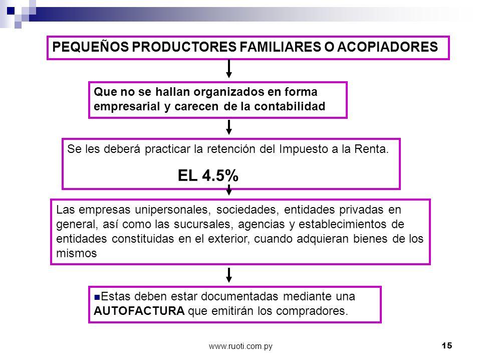 www.ruoti.com.py15 PEQUEÑOS PRODUCTORES FAMILIARES O ACOPIADORES Que no se hallan organizados en forma empresarial y carecen de la contabilidad Se les