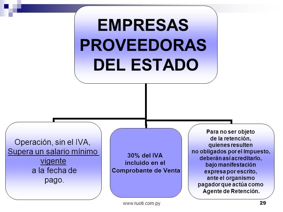 www.ruoti.com.py29 EMPRESAS PROVEEDORAS DEL ESTADO Operación, sin el IVA, Supera un salario mínimo vigente a la fecha de pago. Para no ser objeto de l
